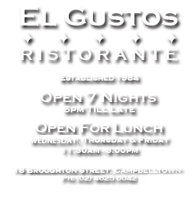 Elgustos Italian Restaurant Established 1984
